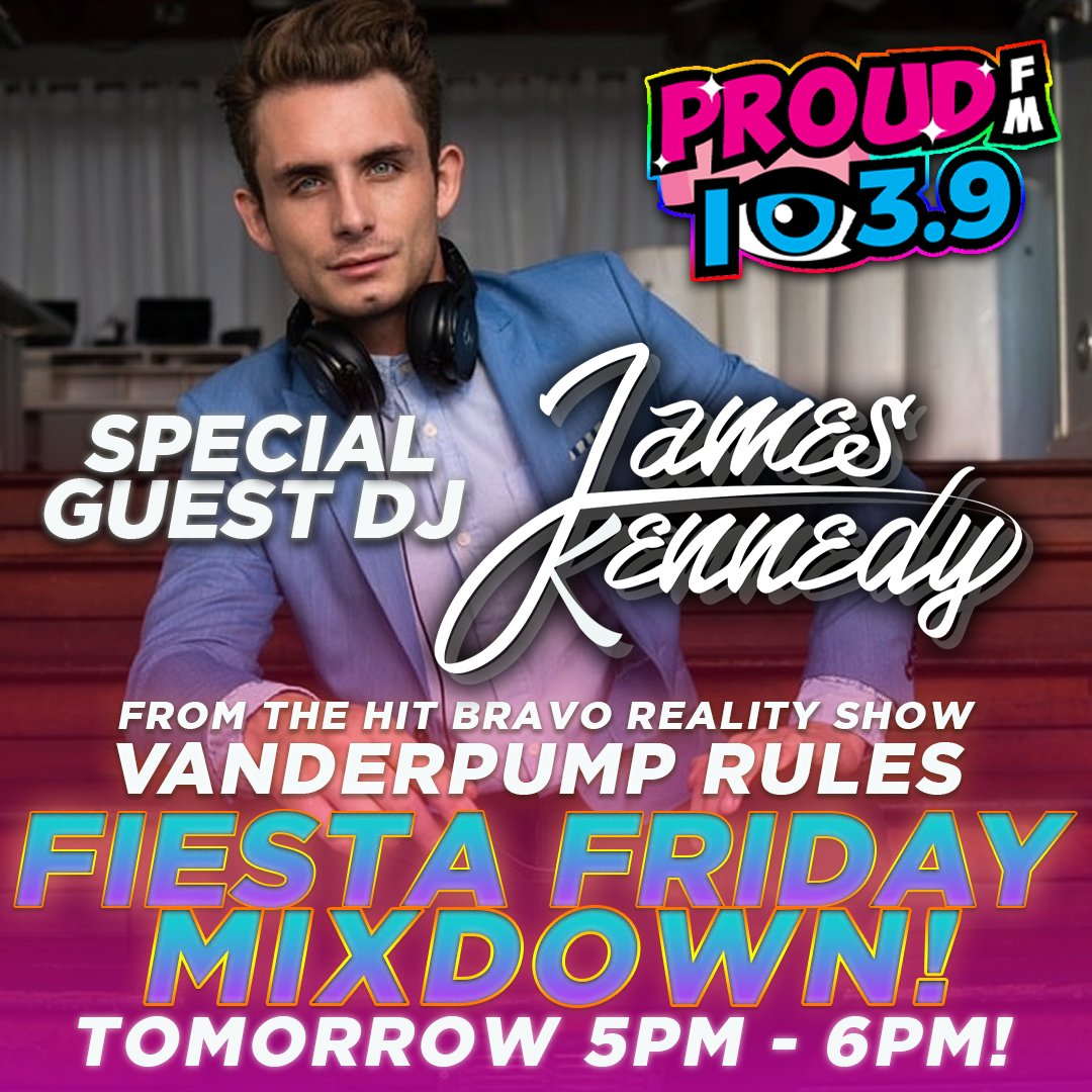 "Tomorrow ""Vanderpump Rules"" star DJ JAMES KENNEDY takes over the PROUD FM studio as our special guest DJ!  James will be on 5pm-6pm!  Turn it up! https://t.co/k5w6SFhwtn"