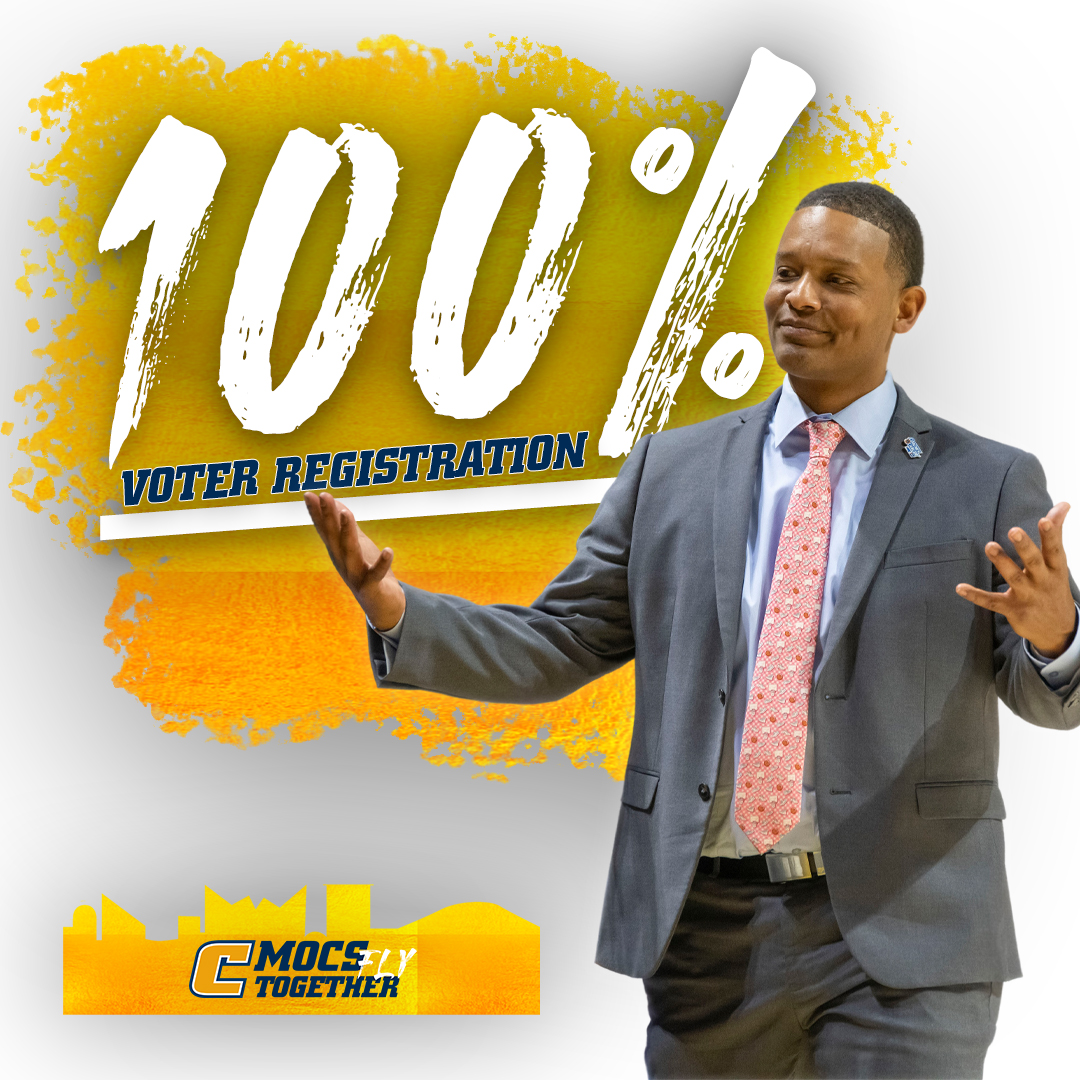 We are 💯% registered to vote...Players & Staff! Wont you join us Chattanooga?!?! #voteNov3 @NABC1927 @SoConSports