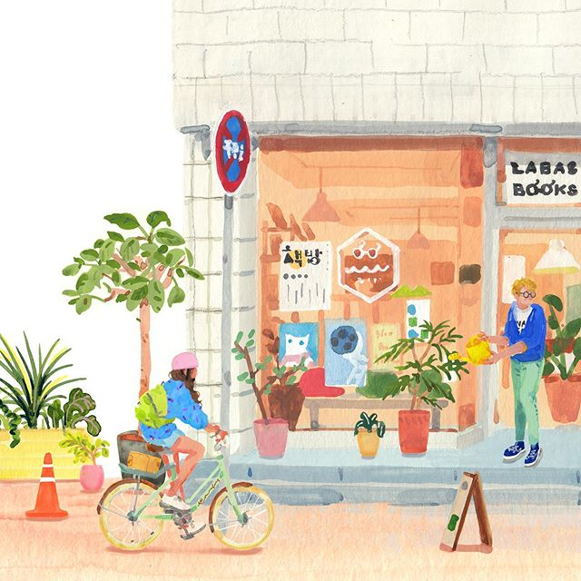"Artist Hee Eun Lee drew her favorite small businesses, which are next to each other: a bookstore, a diner and a cafe.  The owners moved from urban areas in South Korea to Jeju Island for a slower pace. They ""support each other as neighbors and friends,"" says Hee Eun. https://t.co/HF2XMDWEvU"