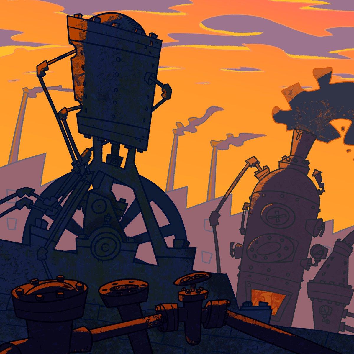 Catching up #steampunk #background #ComicArt #cartoon #digitalart