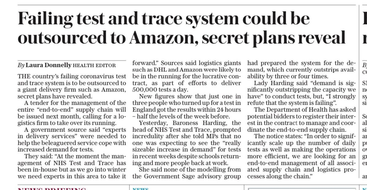 TELEGRAPH FRONT: Failing test and trace system could be outsourced to ⁦@amazon⁩ , secret plans reveal #TomorrowsPapersToday