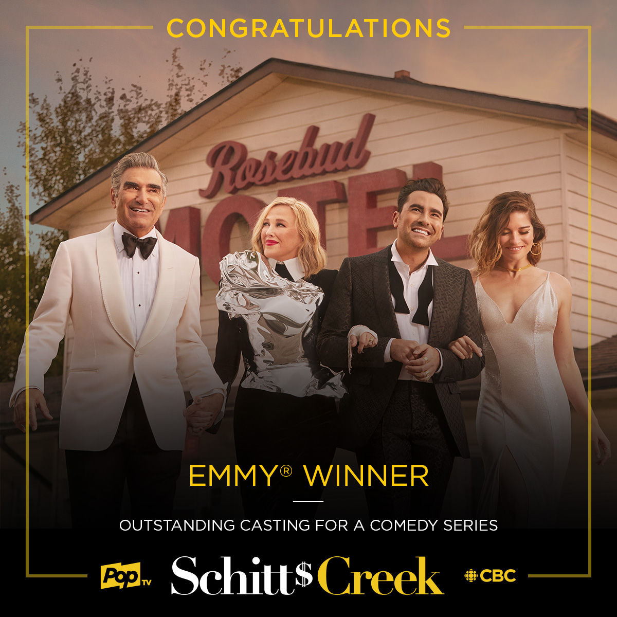 Congratulations to the casting team and the cast of #SchittsCreek! 🥂💛 #Emmys https://t.co/1cEDEpK1yo