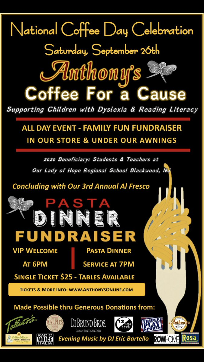 Join us next Saturday, 9/26 for our Annual #NationalCoffeeDay celebration on the #9thstreet #ItalianMarket!  All day fun -- fundraisier -- & dinner! #anthonys #italiancofffeehouse #chocolatehouse #gelateria #coffeeforacause https://t.co/mtpXnNGo8g