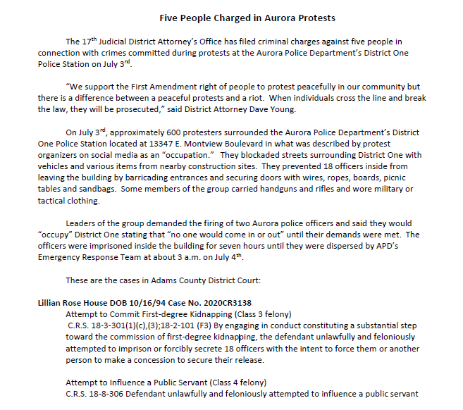 Big news on Denver protests: 6 people have been charged with crimes committed in Aurora during protests in June/July. Among the charges: Attempt to Commit First-degree Kidnapping, Inciting a Riot. Some charged are protest leaders who I saw at nearly every event organized #9News https://t.co/8S0Nk04wUx