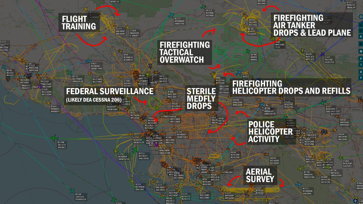 I've added annotations to identify these common flight paths you might see over Southern California. These all occurred simultaneously this afternoon.  https://t.co/C9okAOPVWy https://t.co/lZokxEA7tw