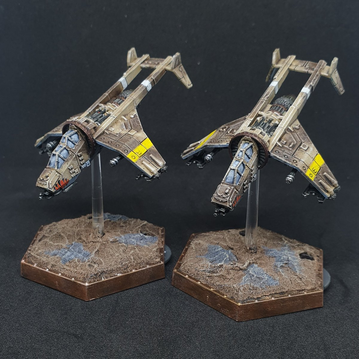 Did someone say vultures? Got my FW vultures done for Aeronautica Imperialis.  #WarhammerCommunity #forgeworld #aeronauticaimperialis #tinyplanes https://t.co/NjB4KnDVyy