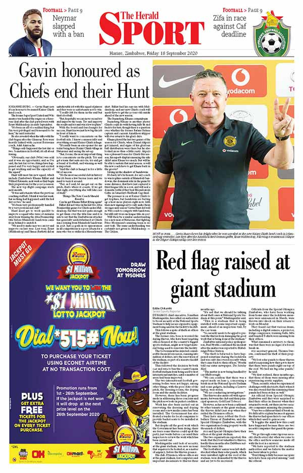 Our front and back pages. Get a copy of The Herald at your nearest supermarket or vending point. herald.co.zw