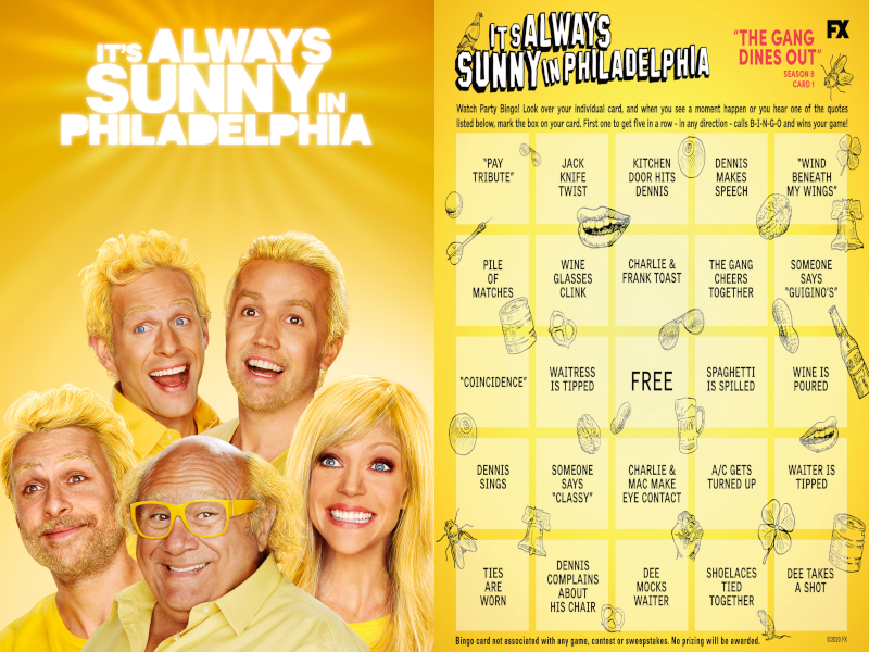 "HEY-OOOO! Play #SunnyFXX BINGO with us during our Watch Party Double Header for ""The Gang Goes To Jersey Shore"" and ""The Gang Dines Out"" TONIGHT at 9pm ET on #FXonHulu. Click here to download your BINGO cards: https://t.co/lSuCAeAcBH https://t.co/MC1ya8SqPe"