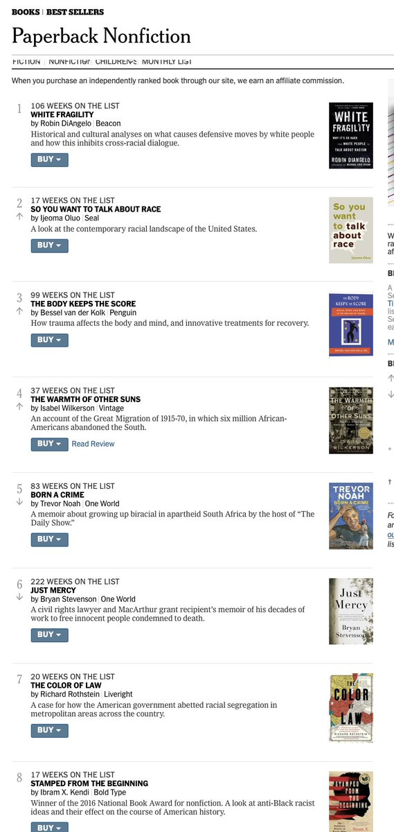 Sign of our times. All of the books on this week's NYT paperback nonfiction bestseller list are about racism, fascism, or trauma. nytimes.com/books/best-sel…