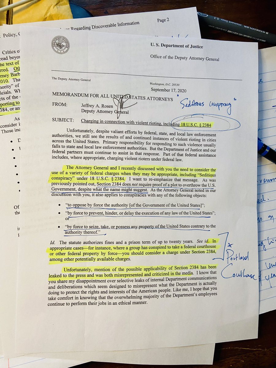 #Sedition #PortlandProtests Memo for US Attorneys from Deputy AG Rosen: Charging in connection with violent rioting, including 18 USC 2384 (Seditious Conspiracy)