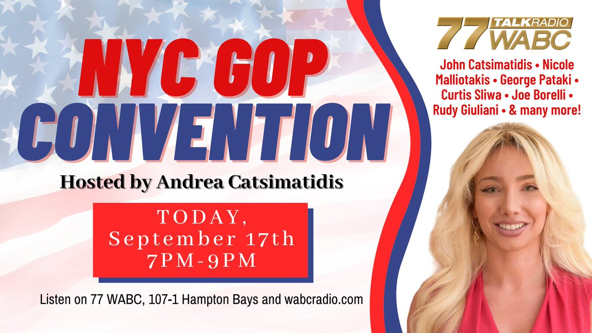 I'll be joining ⁦@AJ_Cats_⁩ ⁦@JCats2013⁩ ⁦@RudyGiuliani⁩ ⁦@JoeBorelliNYC⁩ ⁦@LouForAll⁩ ⁦@NMalliotakis⁩ for the first ever #NYCGOP convention tonight from 7-9 PM on ⁦@77WABCradio⁩