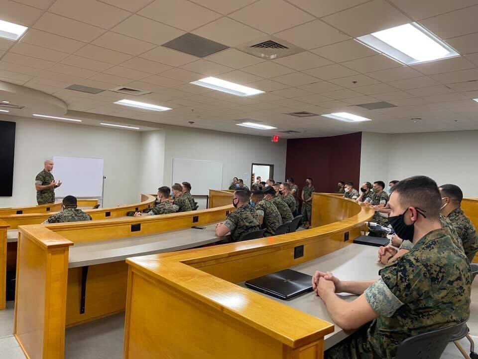 Today I spoke to NCO and SNCO academy students and instructors at Camp Johnson, NC. We spoke about a few non-negotiable Marine Corps traits and skills such as drill and ceremony; respect and leadership; physicality, expeditionary mindset; training, war fighting; and discipline!