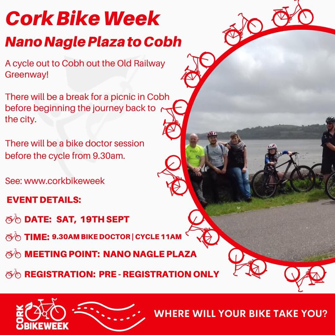 🎉 #CorkBikeWeek Cycle To Cobh 🎉  Leisurely cycle from Douglas St using the Old Railway Greenway to Cobh for a picnic & back 🤗  📅 Sat 19th Sept  📍 Nano Nagle, Douglas St ⏰ 9.30am Bike Doctor | Cycle 11am 🚲 Pre-registration essential  📝 https://t.co/6tWArG4FCO https://t.co/PQssdWpR5C