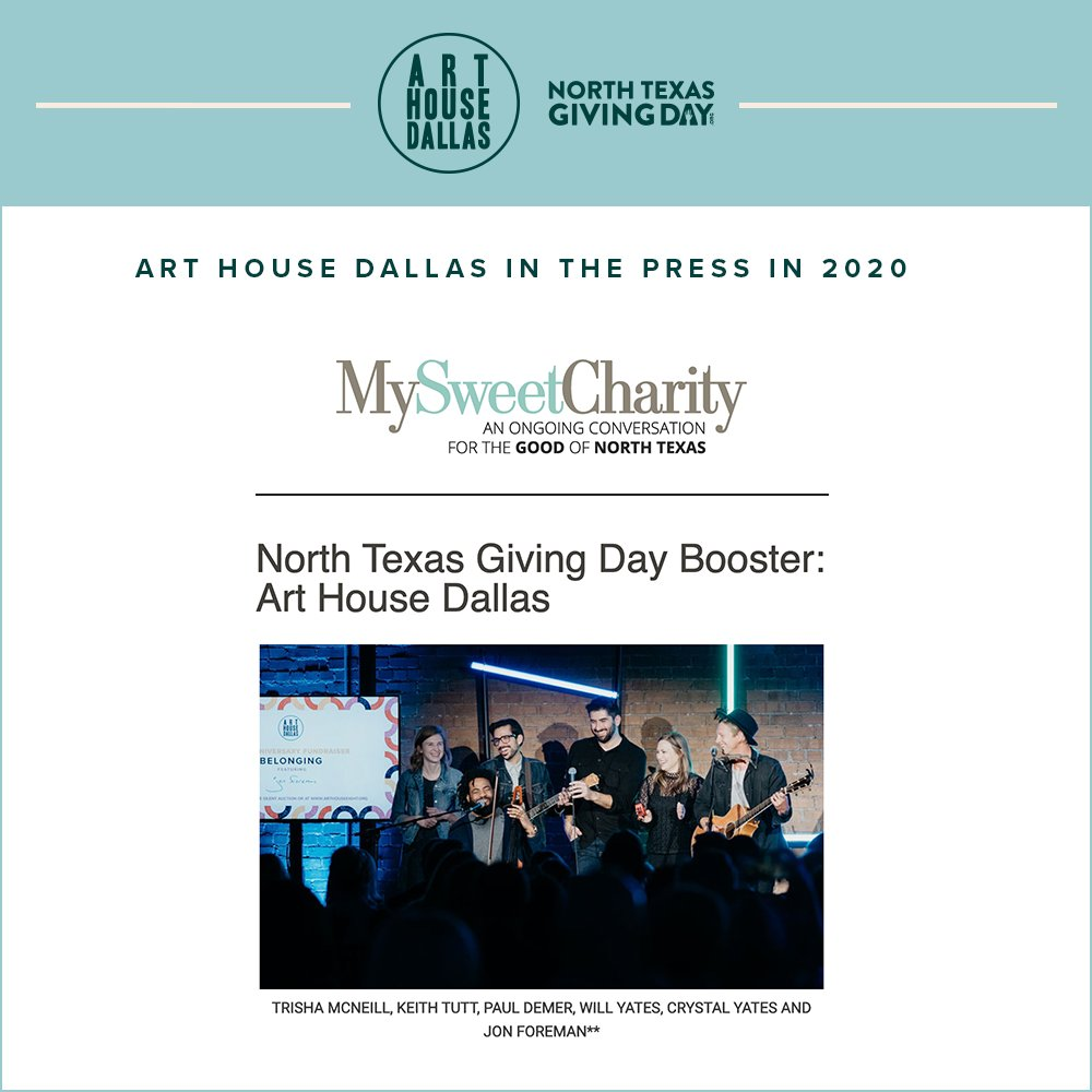 In 2020, MySweetCharity featured us for our steadfast work in the creative community of DFW! We loved seeing this throwback pic on the cover featuring a host of some Dallas artists and some national ones, too.  . . . #DFWNonprofit #generosity #DFWArtists #CreativeCommunity https://t.co/CcoUuMzmKt