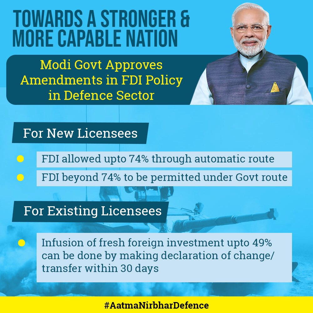 Welcome PM @NarendraModi jis decision to amend FDI policy in Defence Sector. Now, FDI is allowed upto 74% through automatic route & beyond 74% to be permitted through Govt route This will enhance Ease of Doing Business & contribute to growth of investment, income & employment.