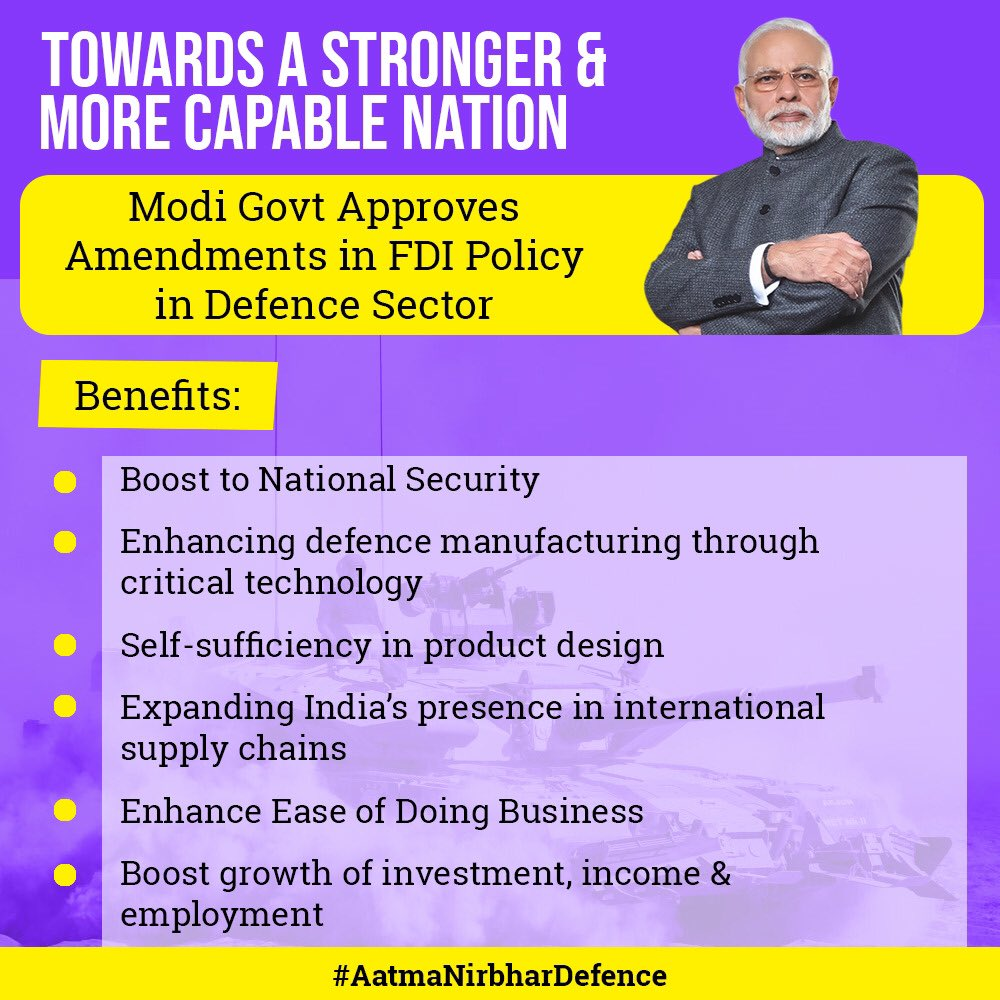 Foreign investments in defence sector shall be subject to scrutiny on grounds of National Security. In line with our collective vision of Aatmanirbhar Bharat, amendments will enhance self-reliance in defence production, while keeping national interests & security paramount.