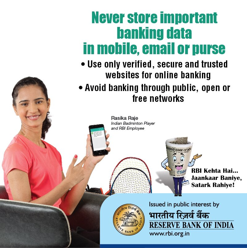 .@RBI Kehta Hai.. Always use secure websites (starting with https://) for online banking Avoid unsecured, unknown Wi-Fi networks for online banking and online shopping #rbikehtahai #StaySafe #BeAware #BeSecure facebook.com/RBIsays