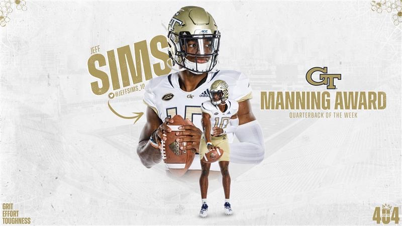 𝗠𝗔𝗡𝗡𝗜𝗡𝗚 𝗔𝗪𝗔𝗥𝗗 𝗤𝗕 𝗢𝗙 𝗧𝗛𝗘 𝗪𝗘𝗘𝗞 For his 💪 debut against Florida State, @JeffSims_10 earned quarterback of the week honors from @SugarBowlNola 🏆 #4the404 🔗 buzz.gt/Sims-ManningQB