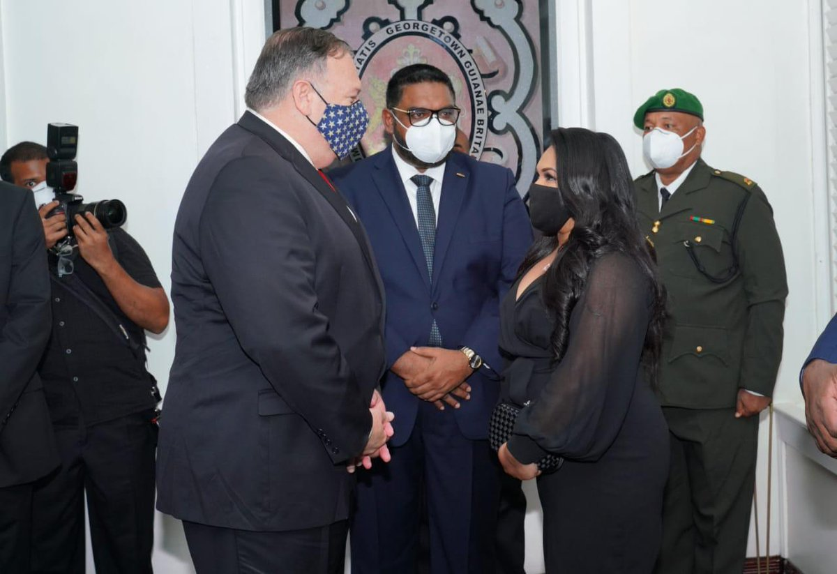 US Secretary of State Mike Pompeo meeting President Irfaan Ali and the First Lady.