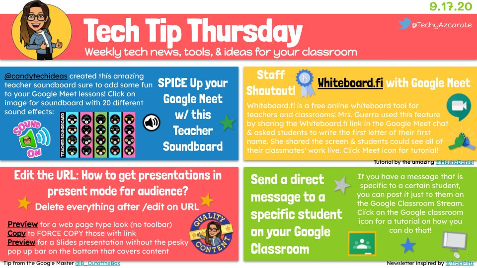 Tech Tip Thursday featuring https://t.co/qdn9l85Njm on #GoogleMeet inspired by @MeshaDaniel , a fun soundboard🔈by @candytechideas , a #Google URL trick by @B_OutoftheBox, & a tip on how to send a message to a specific student on #GoogleClassroom. 👩🏻💻 🔗https://t.co/x2S56g2wEJ🔗 https://t.co/1gbQii5paJ