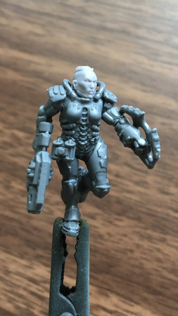 Been working in some new VS to give me options in the next campaign. I think I've built this lady correctly, but she seems to have no neck.... #necromunda https://t.co/eURboFGrLA