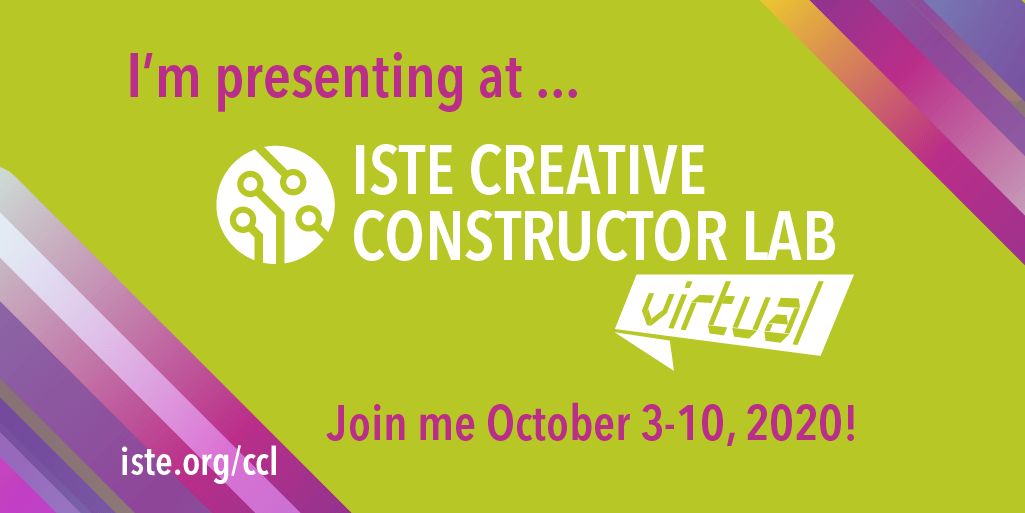 """Stoked to present """"Developing a Designer's Mindset from a Distance"""" at this year's online ISTE Creative Constructor Lab Virtual!  Join me for eight days of imagining, ideating & inventing. You can register at https://t.co/M1UxRLBypX  #ISTECCL #ISTE #caedchat #K2CanToo #WeAreCUE https://t.co/9tDbgPhplk"""