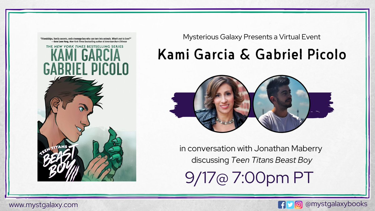 30 minutes until our event with @kamigarcia & @_gabrielpicolo - in conversation with @JonathanMaberry - for TEEN TITANS: BEAST BOY! Event info -> buff.ly/3bCLVTr Crowdcast link -> buff.ly/3hv5QVO