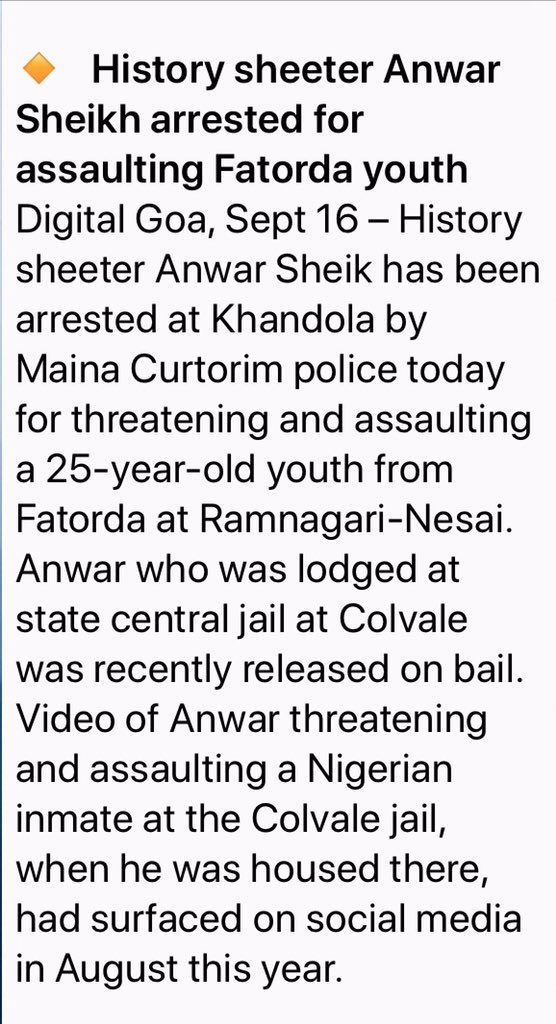 Will @GovtofGoa investigate how Notorious history sheeter currently serving jail term at Colvale, 1st flaunts his power through a video filmed inside jail, gets bail, goes out & then threatens a youth.  @Coll_NorthGoa @DGP_Goa @spnorthgoa @goacm @DrPramodPSawant @SupremeCourtFan https://t.co/GWIRzroljO