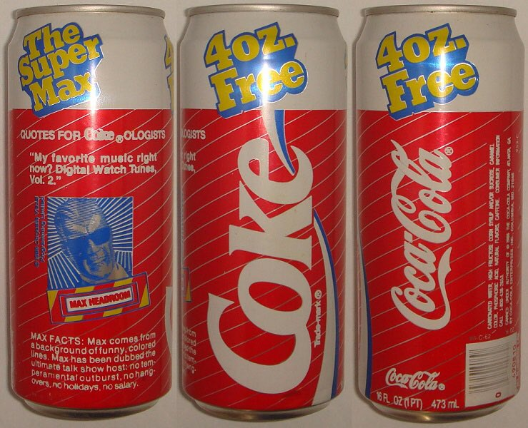 Anyone else remember Max Headroom Cokes? The Coke machine at my high school sold these my freshman year. https://t.co/3073VHG9dP
