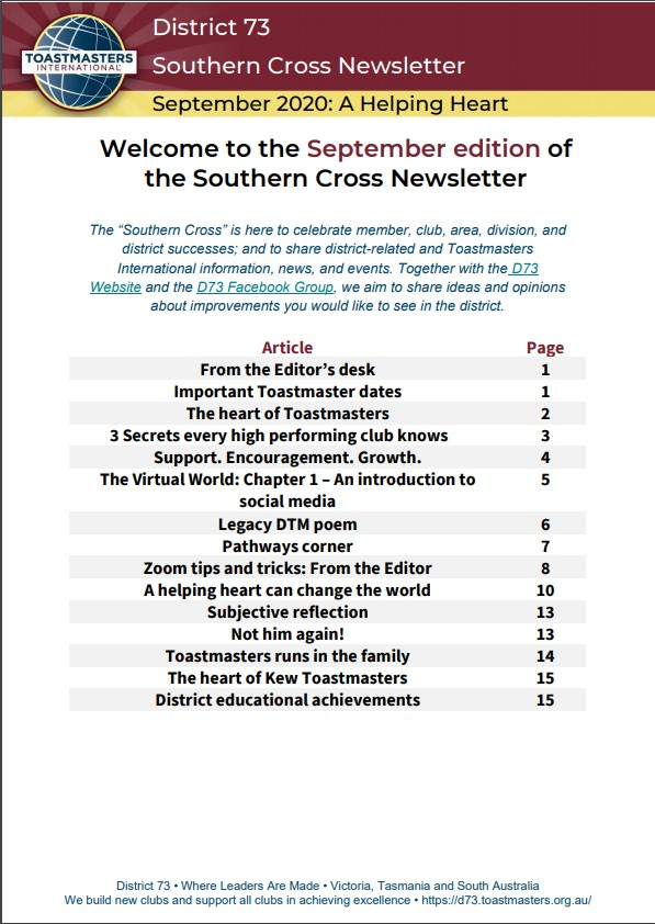 September Edition of Southern Cross Newsletter is OUT!  Here's the link - https://t.co/ZfZjeUo82f  Do read and share your thoughts.   #district73toastmasters #southerncross #newsletter #September2020 https://t.co/38IghSLTIG