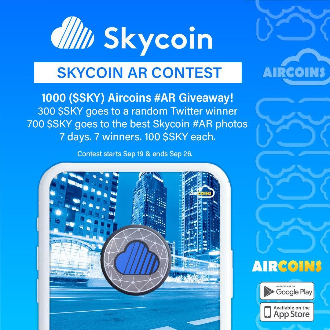 Game on, #Skyfleet! @Aircoins_App has added both #Skycoin & #CoinHours to their #AugmentedReality game! Now you can hunt for $SKY & $SCH all over the world! That's not all. Get out there, take some good photos of the Skycoin & Coin Hours you find, & win even more in our contest!
