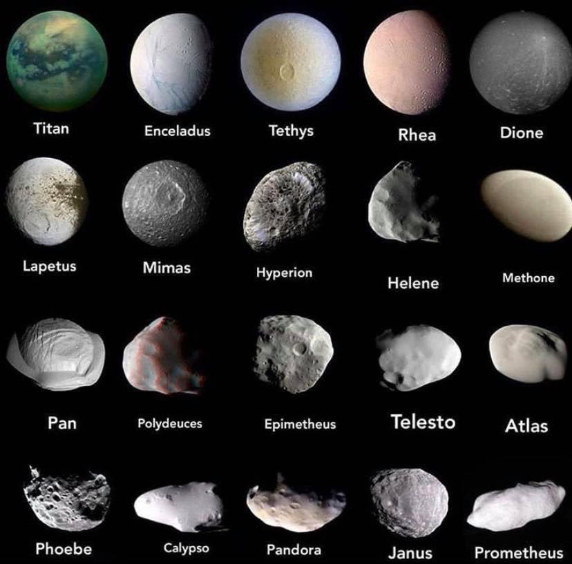 """Saturno tiene el primer puesto en la categoría de la """" mayor cantidad de las lunas"""" con un total de 81 satélites. Estos son algunos de ellos. https://t.co/OAvK2hjZes"""