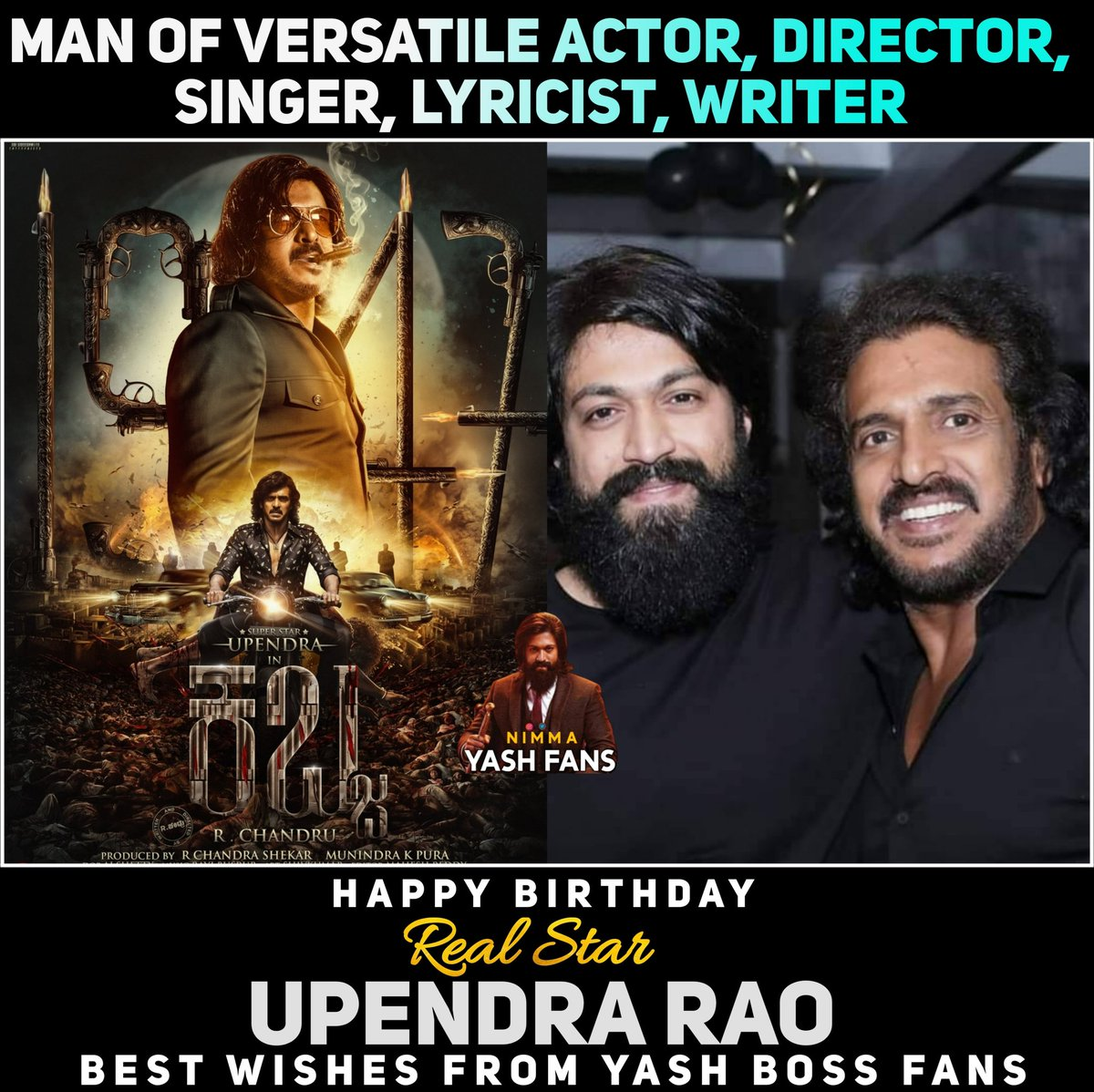 Happiest Birthday @nimmaupendra sir Best Wishes From @TheNameIsYash Boss Fans  Best Wishes To #KabzaMovie From @TheNameIsYash Boss Fans  #Yash #Yashboss #KGF #KGF2 #KGFChapter2 #upendra #uppi #Kabza #director #singer #lyricist #producer #writer #birthday #thenameisyash https://t.co/Ysx3t7sU0Z