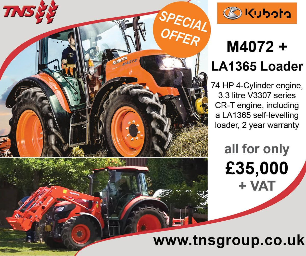 SPECIAL KUBOTA OFFER - M4072 with Loader for just £35,000 + VAT, finance options available, contact your local ASM or via https://t.co/GXGlEyTJc9 for more infomation #kubota https://t.co/pkXymAEPVX