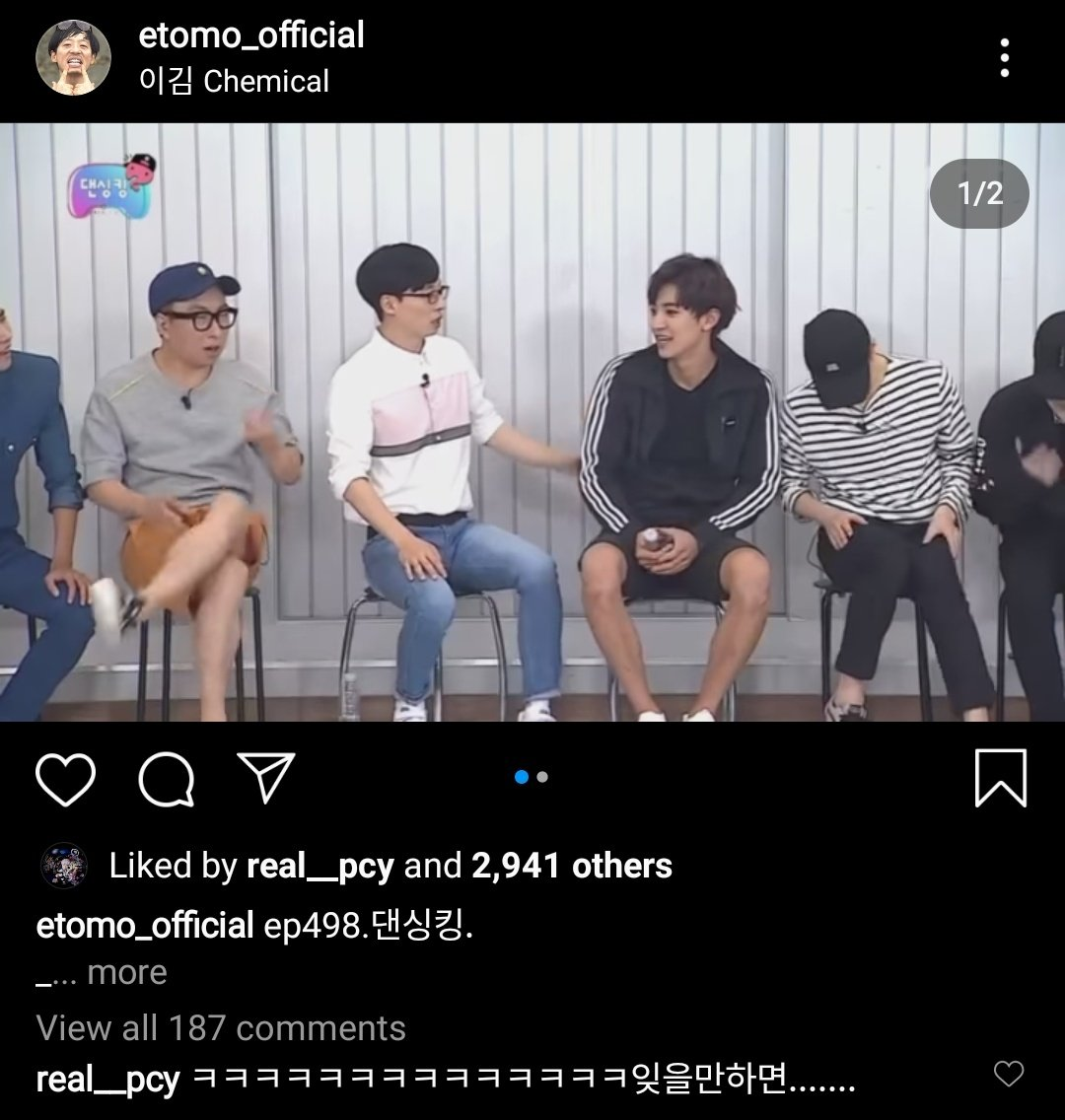 """real__pcy comment: """"ㅋㅋㅋㅋㅋwhen I try to forget (someone brings it up again).......""""  Chanyeol liked and commented on his legendary krump video😭  #CHANYEOL #찬열 #CHANYEOL_Nothin https://t.co/sLmRA5DnF7"""