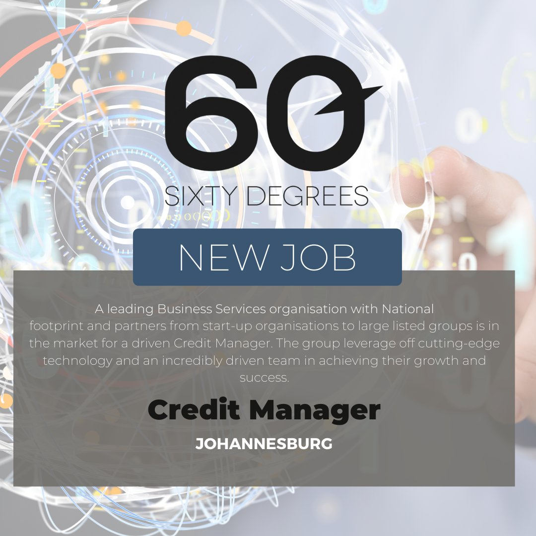 test Twitter Media - New #JobAlert - Credit Manager in Johannesburg  For more information & to apply, please click on the link below;  https://t.co/kuWGIUa7m7  #60Degrees #60DRecruiter #60Droles https://t.co/LEzMF0hMW4