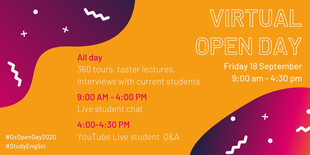 Today all day: 360 tours, taster lectures, live chat with current students. Plus join a live Q&A with 3 of our student ambassadors on Youtube from 4-4.30pm. All the info you need to make your #Engineering course choice is here! https://t.co/SidQkBd1TS #StudyEngSci @UniofOxford https://t.co/2Ih6RfMA8z