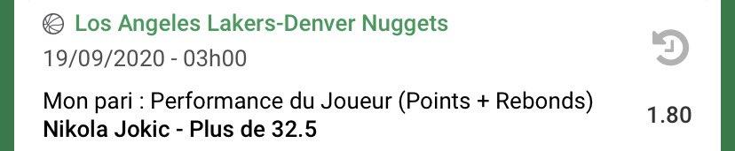 Bet 3 - #NBA    🚨Jokic +32.5 Pts/Rebs ➡️ 1.80  Jokic a été immense lors de ces PO. Et plus particulièrement face aux favoris: les Clippers (cut passé 6 fois sur 7). Pour gagner, les Nuggets ont besoin d'une nouvelle masterclass du serbe.  #TeamParieur #TeamParieurs #NBAPlayoffs https://t.co/xdfohClHQc