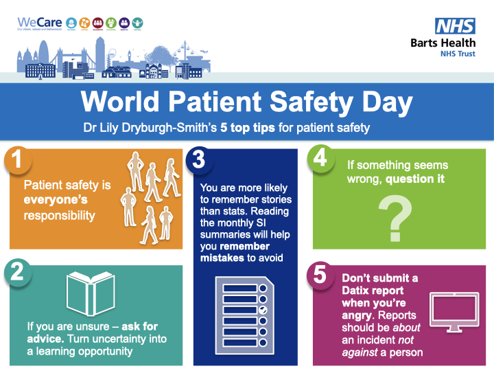 Yesterday was #WorldPatientSafetyDay 🏥  Dr Lily Dryburgh-Smith, Emergency Medicine Registrar and Chief Registrar at @NewhamHospital, shares her top tips for keeping the people we look after safe while they're in our care 👇 https://t.co/djSpwojv57