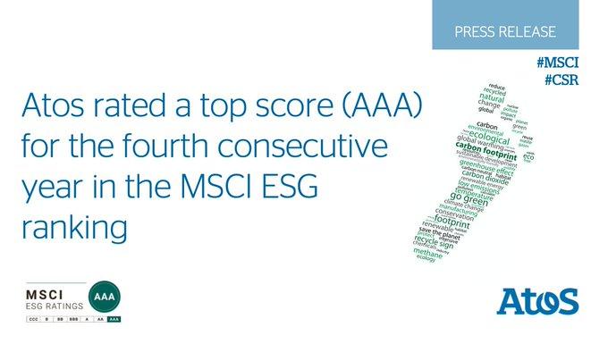 Estamos orgullosos de anunciar que @Atos ha recibido la mayor puntuación -triple A- por...