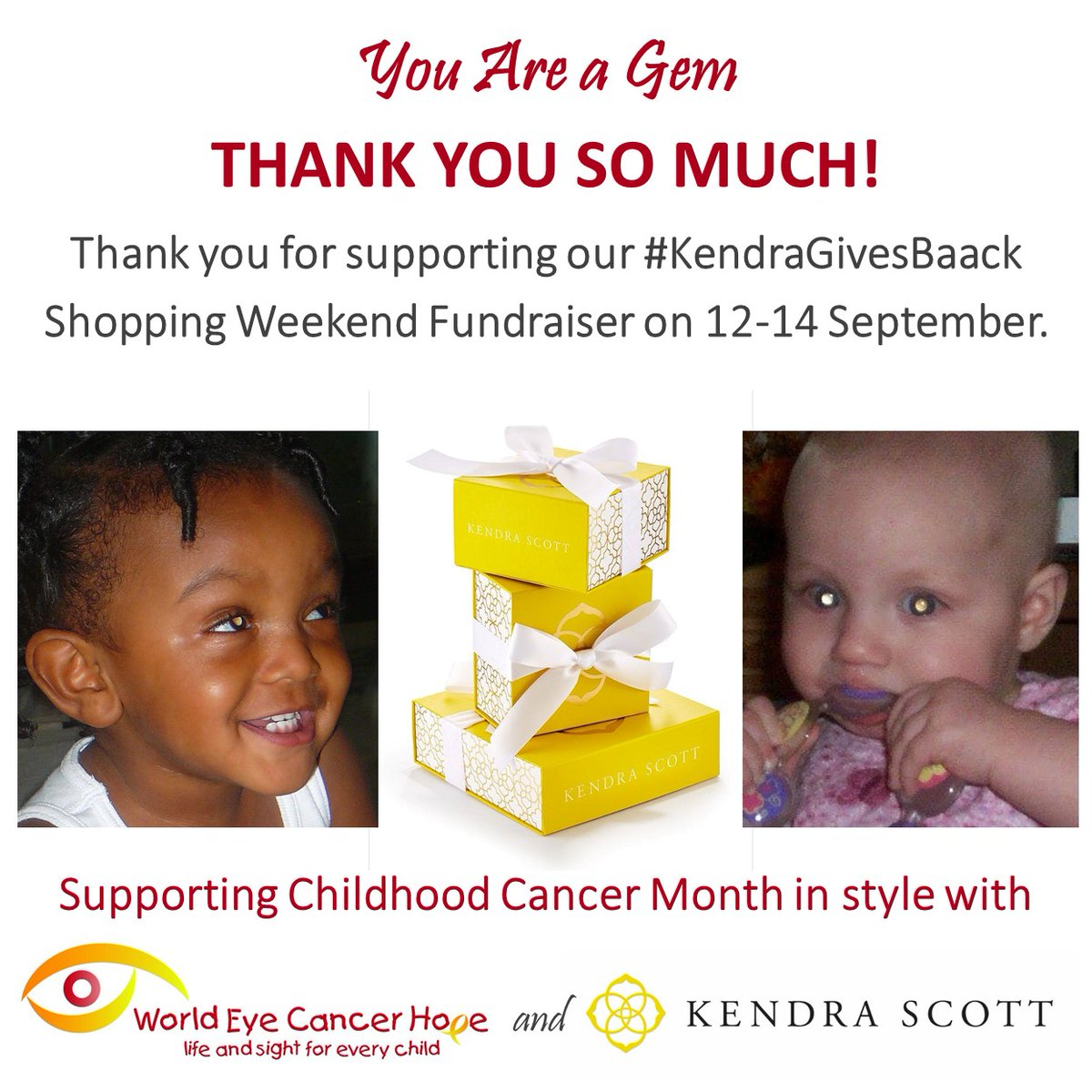 Thank you @KendraScott for embracing kids with #retinoblastoma #EyeCancer, survivors and their families! Our #GiveBack Weekend will help us bring more #LifeSaving #SightSaving care, collaboration and hope to our community. #WeLoveYou #SparkleOn https://t.co/lXTIFPLy0q