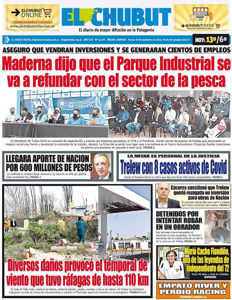 🇦🇷 #ARGENTINA [#Diarios]: «EL CHUBUT»: Tapa impresa. @ElChubut  https://t.co/rcoK2Oqp5e #Chubut https://t.co/vCEoaF4LLw