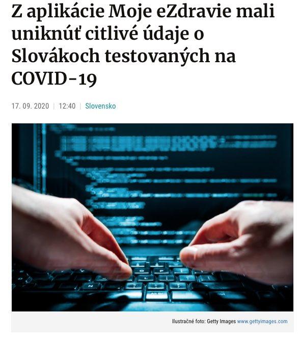 Z aplikácie Moje eZdravie mali uniknúť citlivé údaje o Slovákoch testovaných na COVID-19 ⚠️☎️  ➡️ https://t.co/pyDDwbZbhB : : #zrusenepokuty #neplatpokuty #pokuty #dane #podnikanie #slovensko #prednasky #dobravec #vzdelavanie #slovak #zakony #pomahame #financie #sloboda https://t.co/gMyABY3SMG