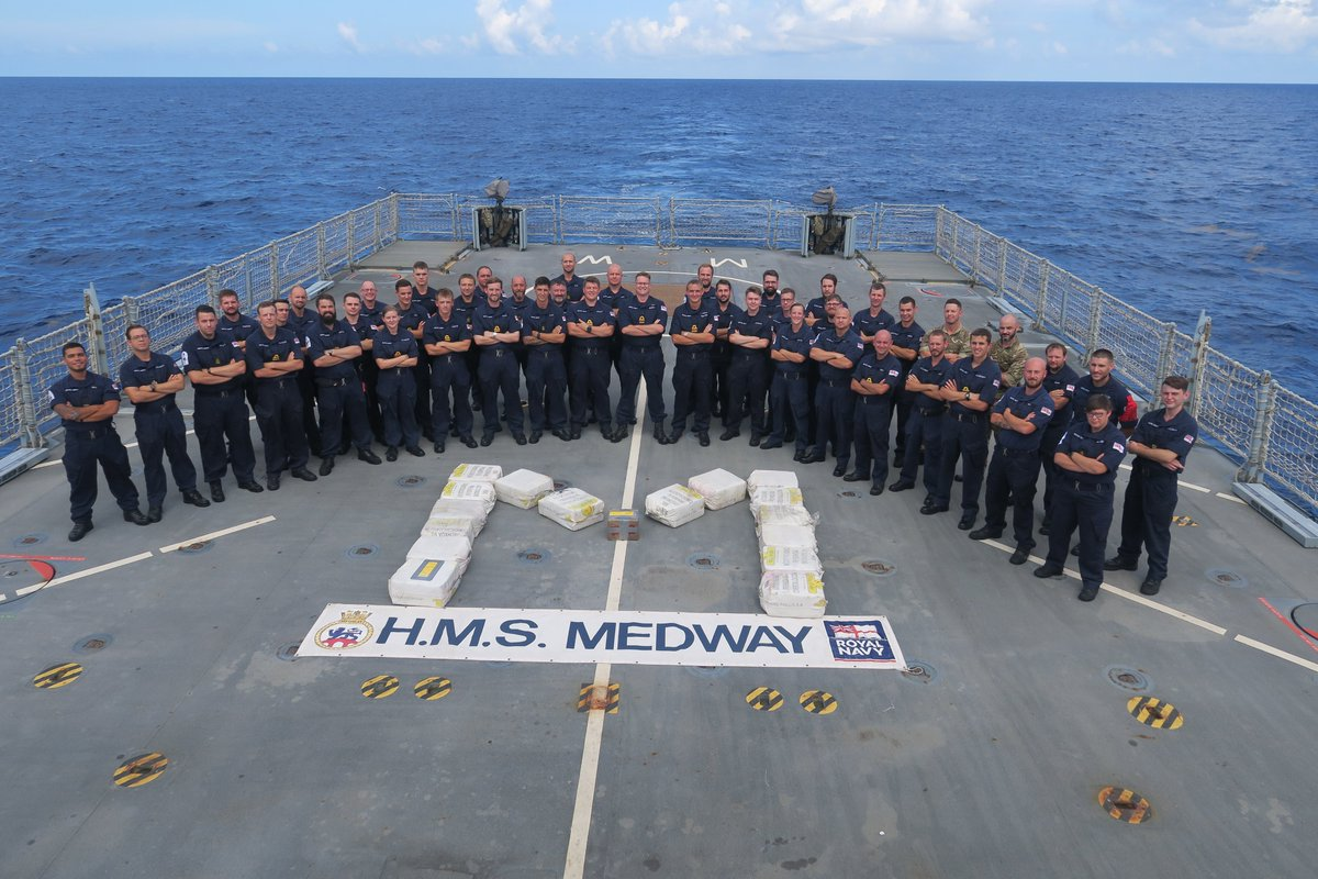 Hat-trick heroes. @RFAArgus and @HMS_Medway have landed a triple blow to drugs traffickers in the Caribbean after seizing cocaine worth an estimated £81m. @47CdoRM at the heart of the operation that saw 358 kilogrammes seized. 🗡️ 🔗Read more: ow.ly/wg7U50BupEb