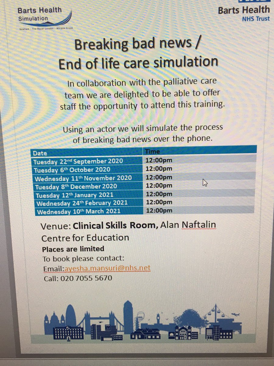 Breaking bad news/EOLC simulation training sessions - spaces available @NewhamHospital site @NHSBartsHealth. Do sign up, details on poster below @JuneKibuthu @kulveer_rehsi @pevans_88 https://t.co/c0vU9u4H3W