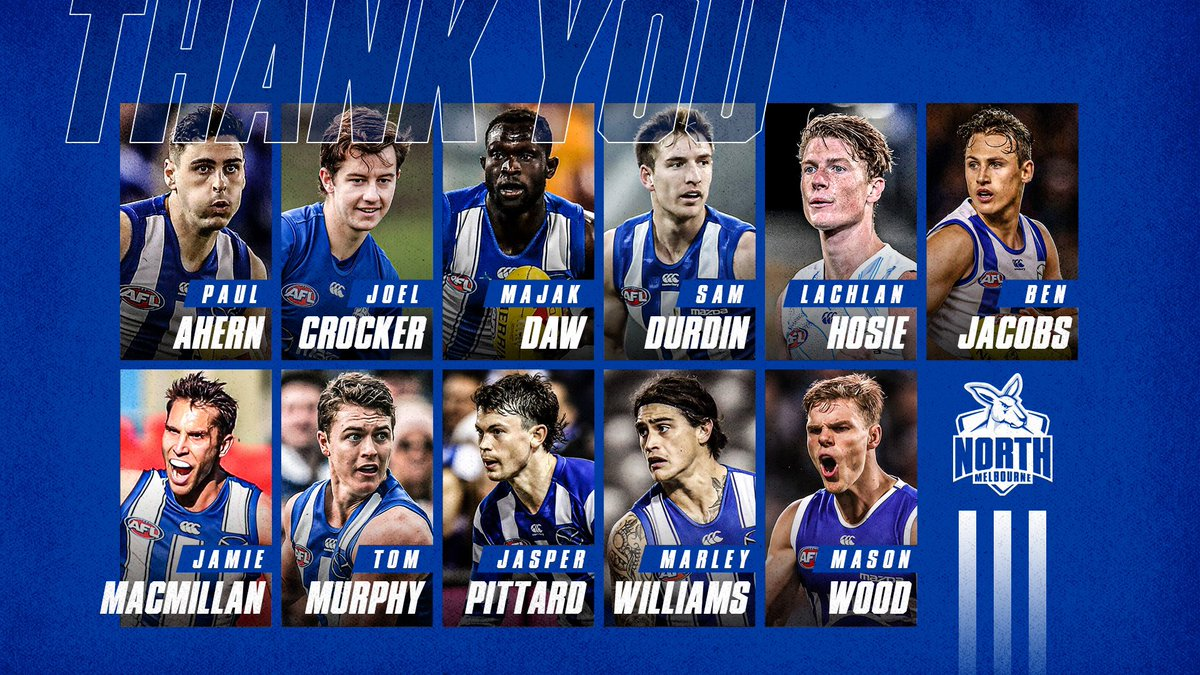 Thanks for your service to North Melbourne, boys. Whether it was one year or ten, it was a pleasure to have you in the blue & white. 💙🤍 https://t.co/a7cV0narF5