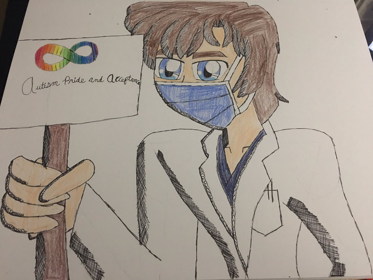 #FanArtFriday #Remake: A fanmade poster for Autism Pride and Acceptance, featuring Dr. Shaun Murphy(#TheGoodDoctor), wearing his face mask. 😷😊❤️🧡💛💚💙💜 https://t.co/sjYMDqAAKn