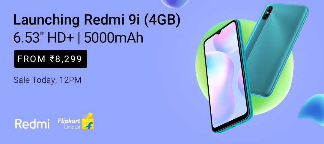 Redmi 9i (4GB) from Rs 8,299 | Sale today at 12 Noon. #Flipkart https://t.co/4jcmPQJyB6 https://t.co/hrWSOrvyhC