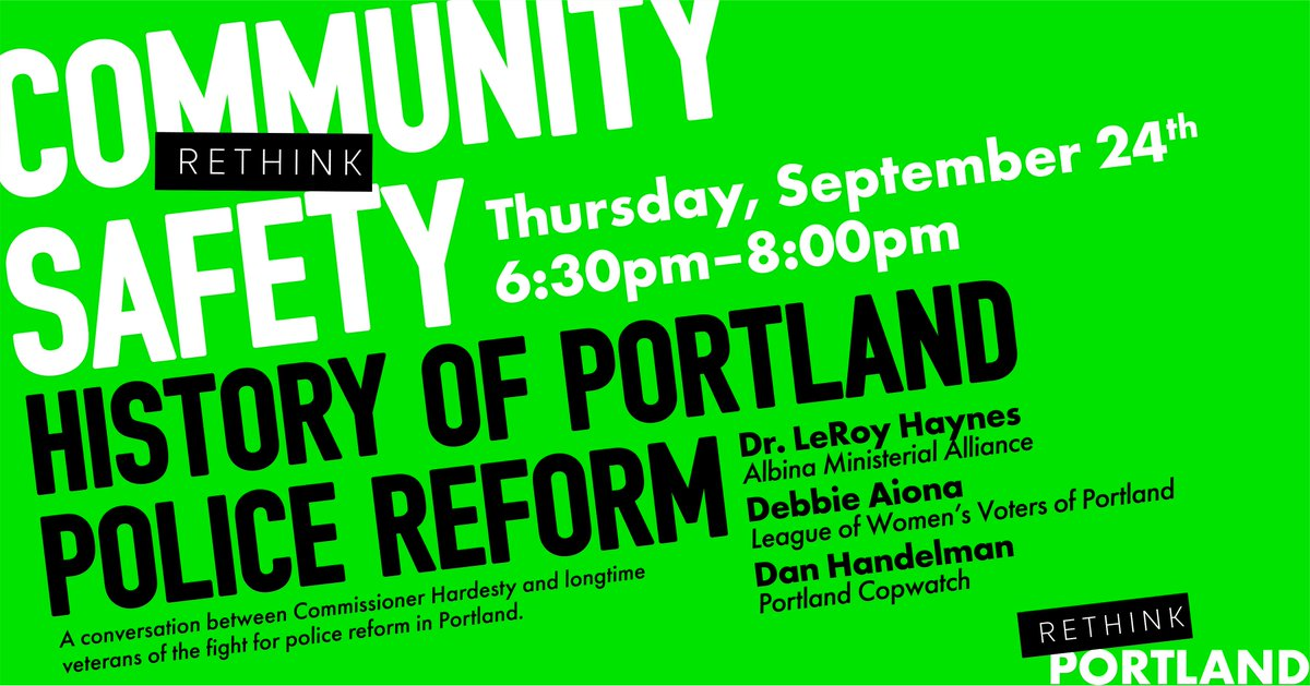 Join Commissioner Hardesty for a conversation with long time veterans of the fight for police reform in Portland, featuring: Dr. LeRoy Haynes (AMA Coalition for Justice and Police Reform), Debbie Aiona (League of Women Voters of Portland), & Dan Handleman (Portland Copwatch). https://t.co/YpiYwfE3eq