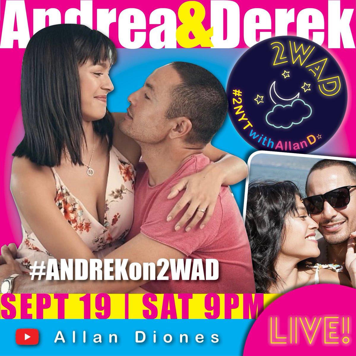ANDREKS!! ♥️  LIVE Na LIVE Makakasama naten tomorrow  ang Mag-BABY na sina @andreaetorres & @kingderekramsay! 😍  #2NYTwithAllanD 🌙 #2WAD  #ANDREKon2WAD  Sept 19 | Saturday | 9PM Allan Diones YouTube channel ▶️  See you there, guysh!! 🙌🏼 https://t.co/Fktz3HaOir